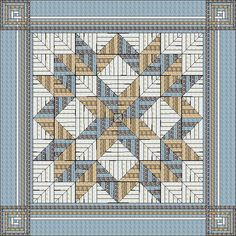 Carpenter's Star with Carpenter's Corner King Size Quilt Pattern by QuiltFOX, designed by Judit Hajdu, 2014