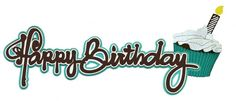 Paper Wizard - You Say Its Your Birthday Collection - Die Cuts - Happy Birthday - Frosting Title - Teal at Scrapbook.com $5.99