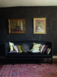 Bloomsbury epitomized in Vanessa Bell's black on black bedroom at Charleston Farmhouse. Historic inspiration for our new Bloomsbury Collection. Living Room Grey, Living Room Modern, Living Room Decor, Living Spaces, Bedroom Decor, Living Rooms, Best Interior Design, Modern Interior, Interior Paint