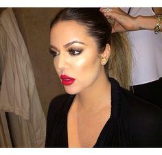 khloe kardashian red lip | Khloe Kardashian Red Lips Makeup Look