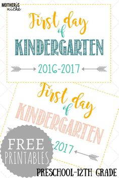 First day of school signs: free printables *pre-school- grade* First Day Of School Pictures, 1st Day Of School, Beginning Of School, Pre School, School Days, School Stuff, School Memories, School Photos, School Life