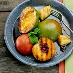 Grilled fruit with balsamic vinegar syrup #mayoclinicrecipes YUM!!! I'll have to try this soon!