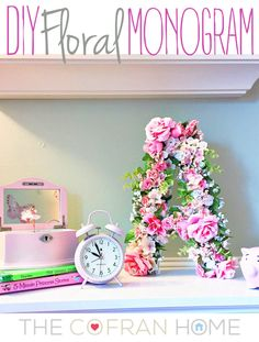 Easy DIY Floral Monogram - perfect for a little girl's room, a unique piece in a gallery wall, or a fun desk accessory!