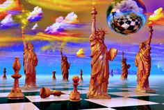 A contemporary art piece by Errico, a surrealist who specializes in several themes including chess.