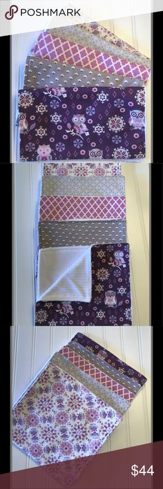 Set of 5 Baby Burp Cloths, Baby Girl, baby gift This burp cloth set is the perfect baby shower gift for the new girl baby in your life! The cloths are soft and super absorbent compared to store bought cloths. This set of 5 burp cloths includes adorable purple and gray fabrics with white chenille  All fabrics are pre-washed with scent free detergent Set of 5: Purple_Gray, Owls, Quatrafoil, Pink_Gray, Shower Gift, Chenille Burp Cloth Set, Minky  Different fabric options available. I'm happy to…