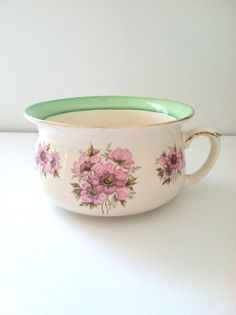 Antique Chamber Pot Victorian Potty English Chamber Pot Porcelain Primitive Decoration Repurposed Planter Made in England