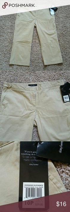 New Daisey Fuentes tan capris pants New Daisey Fuentes tan capris pants. These are great staple to add to your closet. Zipper and clasp closure in front, side pockets in front with 2 additional button pockets in back. Material is a cotton, spandex blend! These won't go out of style, classic look perfect now for summer. New never worn with tags Daisy Fuentes Pants Capris