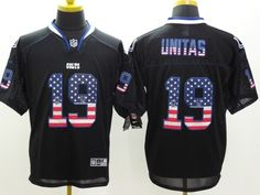 Men's Nike NFL Indianapolis Colts #19 Johnny Unitas USA Flag Fashion Black Elite Jerseys The price is $22 per piece, 10 orders will be free shipping, more orders, more discount. Quality is guaranteed! If you are interested in them, pleases E-mail  chinawholesalejerseys@outlook.com