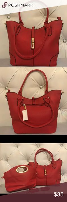 BNWT SET ! Handbag with matching mini Brand New with tags   Absolutely gorgeous red handbag purse   Comes with strap so you can use it as a shoulder bag if you'd like   It also comes with a mini Both have zipper closure on top mini bag is also compatible with the straps in case you want to carry it as a mini shoulder bag Bags Satchels