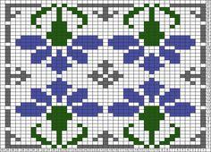 Tricksy Knitter Charts: Deco flower motif by Hollyoak Tapestry Crochet Patterns, Fair Isle Knitting Patterns, Fair Isle Pattern, Knitting Charts, Knitting Stitches, Loom Flowers, Fair Isle Chart, Little Cotton Rabbits, Bead Crochet Rope