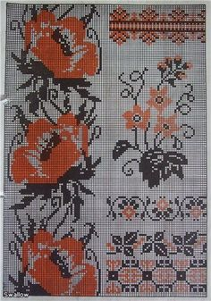 Подборка цветочно-орнаментальная Cross Stitch Fruit, Cross Stitch Borders, Cross Stitch Flowers, Cross Stitching, Cross Stitch Patterns, Folk Embroidery, Embroidery Patterns Free, Cross Stitch Embroidery, Knitting Charts