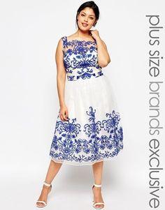 6d9bf802ef71 Chi Chi London Plus Lace Embroidery Midi Prom Dress Curvy Fashion