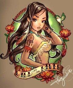 Sexy Pocahontas cartoon illustration via www.Facebook.com/DisneylandForMisfits