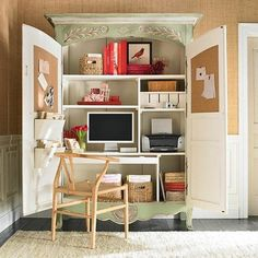 home office cabinet with computer desk and storage shelves - Great solution for small home office design!