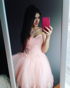 Charming Prom Dress, Tulle Homecoming Dress, Pink Appliques