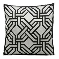 Kathy Ireland Silver and Black Geometric 18-inch Pillow