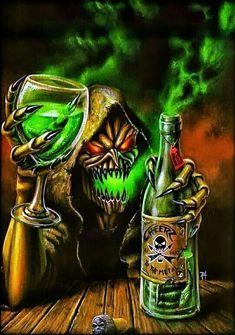 Gamma Ray -Cheers to the Metal by Ihel Horror Artwork, Skull Artwork, Gothic Fantasy Art, Fantasy Artwork, Grim Reaper Art, Heavy Metal Art, Skull Pictures, Marijuana Art, Stoner Art