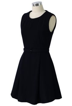 Belted Sleeveless Pleated Dress