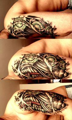 www.tattoodefender.com #tattoo #tatuaggio #biomechanical #tattooart #tattooartist #ink #inked #tattooideas #biomechanical