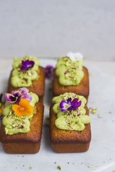 ... pistachio & lime mini loaves with avocado frosting (gf) ...