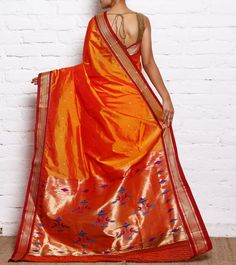 Orange & Maroon Paithani Silk Saree with Zari Peacock Palla Phulkari Saree, Kasavu Saree, Silk Sarees, Saris, Bandhini Saree, Velvet Saree, Bengali Bride, Pochampally Sarees, Ethnic Fashion