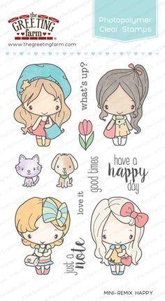 MINI-REMIX HAPPY-The Greeting Farm Clear Photopolymer Stamp-Stamping Craft-Anya #TheGreetingFarm