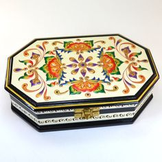 Rajasthani Painted Box - Handcrafted, hand painted wooden keepsake box. - Dogwood Hill Gifts