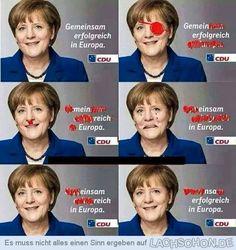 Verschönertes Wahlplakat - angela, merkel, cdu, gemeinsam, erfolgreich, europa, gemein, mein, einsam, reich, nsa