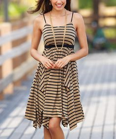 Another great find on #zulily! Beige & Black Stripe Handkerchief Dress - Women & Plus by Monroe & Main #zulilyfinds