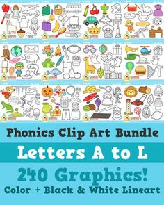 Clip Art: Letters A - L - Little Reds ABC Clipart - 240 images! Color and black and white! $