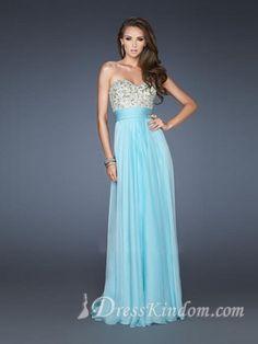 Sexy Sweetheart Princess Chiffon Sequined Floor-length Blue Prom Dresses [10129371] - US$136.99 : DressKindom