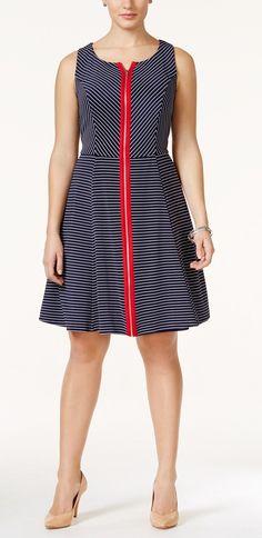Love the zipper!  Plus Size Sleeveless Zip-Front Skater Dress
