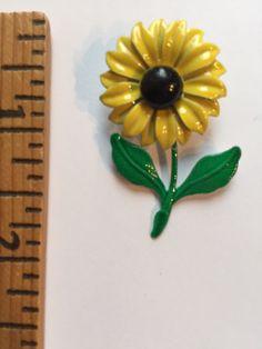 Vintage Enamel Costume Jewelry Yellow Sunflower Brooch Pin