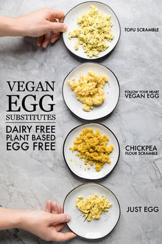 Vegan Egg Substitutes – Make It Dairy Free – See us try 4 different vegan egg substitutes and break down which one is the best! Vegan Egg Substitutes – Make It Dairy Free – See us try 4 different vegan egg substitutes and break down which one is the best! Vegan Breakfast Recipes, Vegetarian Recipes, Healthy Recipes, Tofu Breakfast, Healthy Eats, Free Recipes, Vegan Foods, Vegan Dishes, Vegan Meals