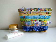 8a730aabcf Cotton toiletries bag - handmade - seaside wash bag - ruffle toiletries bag  - teen girls - women - gift