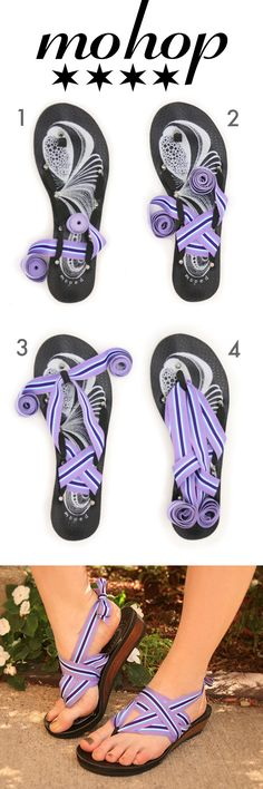 Mohop ribbon sandals come with 5 ribbons and can be styled in hundreds of different ways!  Handmade, Eco-friendly, Customizable!