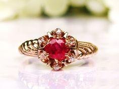Antique Engagement Ring Ruby & Rose Cut Diamond Ring 14K Yellow Gold Victorian Diamond Wedding Ring Alternative Engagement Ring Size 7!