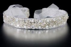 Beaded Organza Wedding Headband with Pearls from Cassandra Lynne