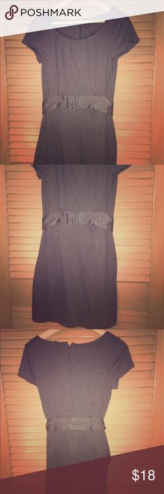 H&M Grey Capsleeve Belted Shift Dress, US size 8 H&M Grey Capsleeve Belted Shift Dress, US size 8, worn once H&M Dresses