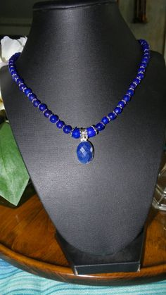 Sapphire beaded necklace pendant. by FierStaarGems on Etsy