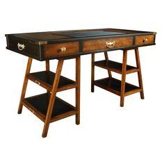 Handmade Aged Small Desk, Black & Honey