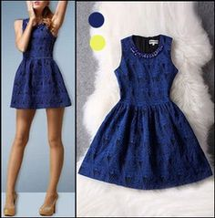 Online Shop Hot sell!2014 women's spring summer fashion vintage elegant quality embroidery tank dress,blue yellow color,cute dress for girl|Aliexpress Mobile