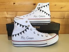 High top black and white Bunting Wedding Converse with personalised name #weddingconverse #bunting