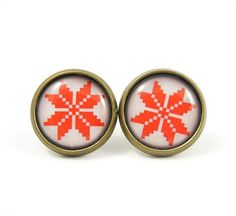 Christmas Earring Studs  White Red Earring Posts  by MistyAurora, $15.00