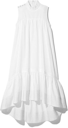 Phillip Lim Sleeveless Dress with Smock Neck in White, Size 0 Stylish Dress Designs, Stylish Dresses, Simple Dresses, Cute Dresses, Casual Dresses, Fashion Dresses, Summer Dresses, Dress Sewing Patterns, African Dress