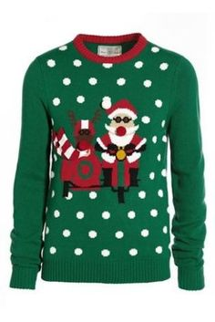 Christmas Jumper: Green Side Car Santa Crew from Next