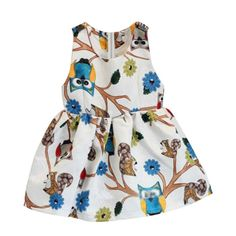 4.65$  Watch now - http://alilv9.shopchina.info/go.php?t=32656482698 - 2016 New Brand One Piece Cute Kids Baby Girls Sleeveless Owl Print Tutu Dress Party Clothing  #buymethat