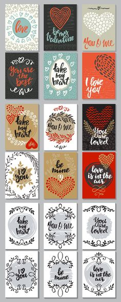 Vector romantic cards collection by Fancy art on @creativemarket