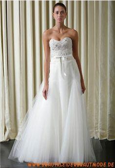 Liebste moderne Brautkleider aus Organza und Satin für Prinzessin A-Linie mit Perlen