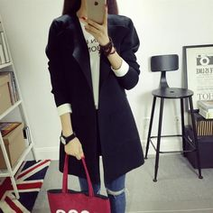 high quality Women 2016 Knitted Cardigan Autumn Winter V neck Collar Causal Pockets Full Sleeve Patchwork Cardigans Long Coat